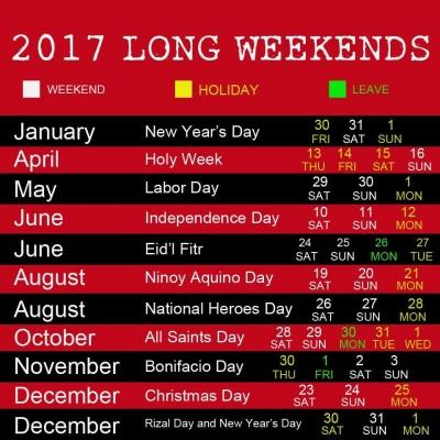 2017 Long Weekends